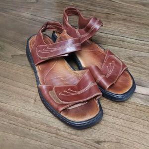 Josef Seibel Womens Bark Leather Velcro Sandals